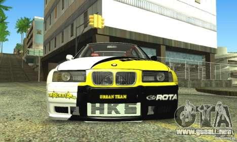 BMW E36 Urban Perfomance Garage para GTA San Andreas vista hacia atrás