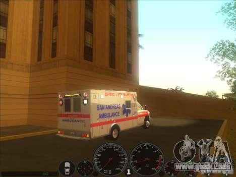 Ford E-350 Ambulance 2 para GTA San Andreas vista posterior izquierda