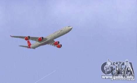 Airbus A340-600 Virgin Atlantic para la visión correcta GTA San Andreas
