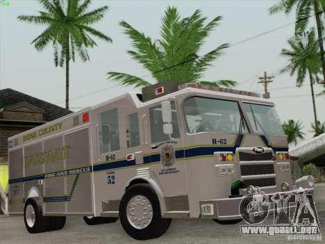 Pierce Fire Rescues. Bone County Hazmat para el motor de GTA San Andreas