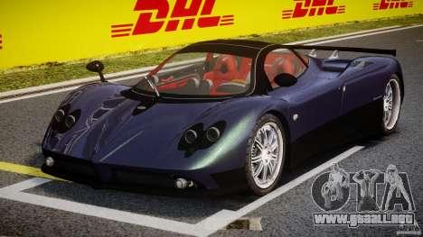 Pagani Zonda F para GTA 4 vista hacia atrás