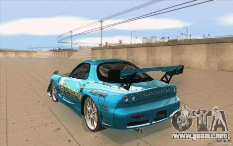 Mazda RX-7 911 Trust para GTA San Andreas vista posterior izquierda