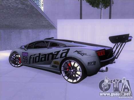 Lamborghini Gallardo Racing Street para GTA San Andreas vista posterior izquierda