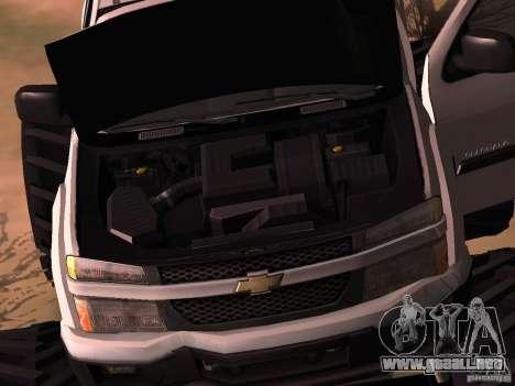 Chevrolet Colorado Monster para GTA San Andreas vista posterior izquierda
