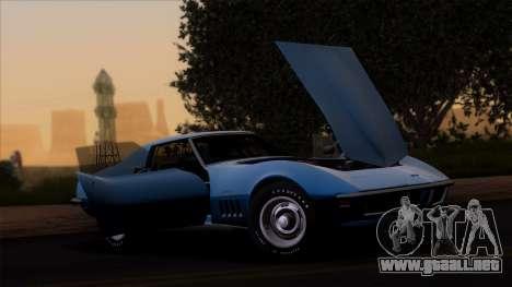 Chevrolet Corvette C3 Stingray T-Top 1969 v1.1 para GTA San Andreas vista posterior izquierda