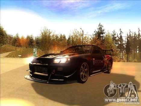 Nissan Skyline GT-R BNR34 Tunable para vista lateral GTA San Andreas