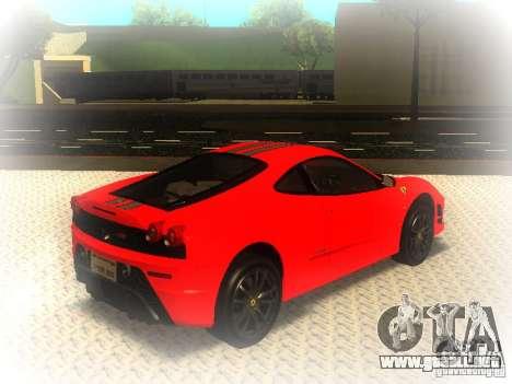 Ferrari 430 Scuderia TT Black Revel para GTA San Andreas vista posterior izquierda