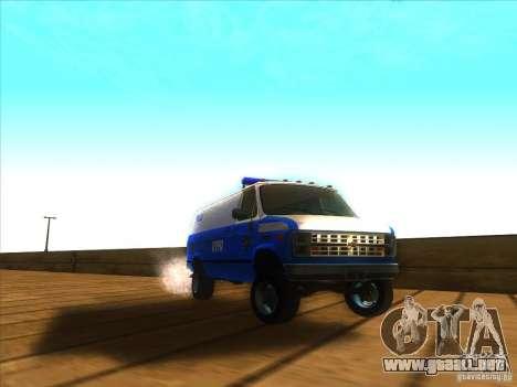 Chevrolet Van G20 BLUE NYPD 1990 para GTA San Andreas vista hacia atrás