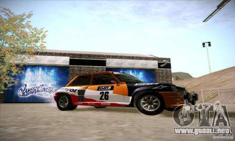 Renault 5 GT Turbo Rally para la visión correcta GTA San Andreas