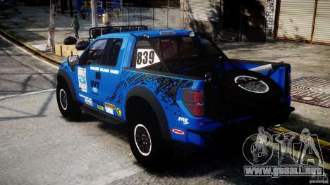 Ford F150 Racing Raptor XT 2011 para GTA 4 Vista posterior izquierda