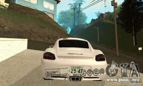 Porsche Cayman S para las ruedas de GTA San Andreas