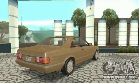 Mercedes-Benz W126 560SEC para GTA San Andreas vista posterior izquierda