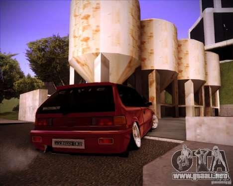 Honda Civic EF9 Hatch Stock para GTA San Andreas vista posterior izquierda