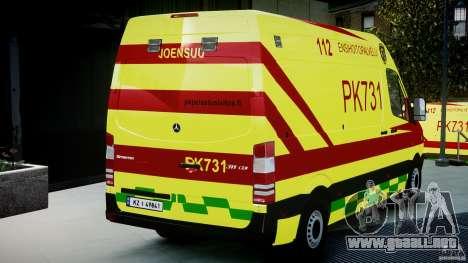 Mercedes-Benz Sprinter PK731 Ambulance [ELS] para GTA 4 vista lateral