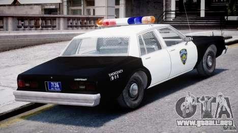 Chevrolet Impala Police 1983 [Final] para GTA 4 vista desde abajo