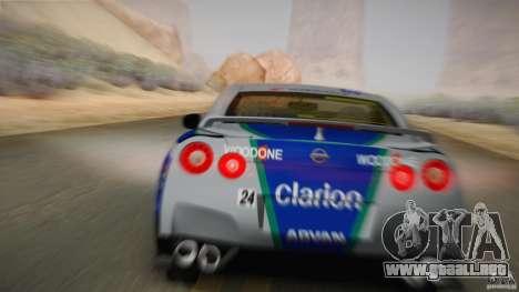 Nissan GTR R35 Tunable v2 para GTA San Andreas vista hacia atrás