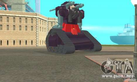 Tanque RX-75-4 Guntank para GTA San Andreas vista posterior izquierda