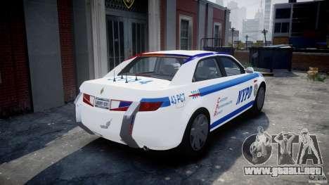Carbon Motors E7 Concept Interceptor NYPD [ELS] para GTA 4 Vista posterior izquierda