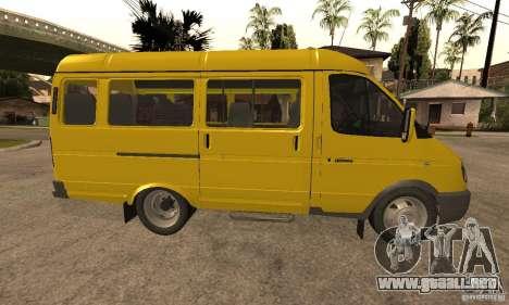 Minibús Gazelle 32213 Novosibirsk para GTA San Andreas vista posterior izquierda