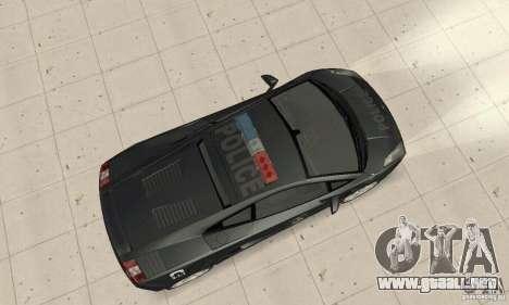 Lamborghini Gallardo Police para GTA San Andreas vista posterior izquierda