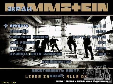 Menú de Rammstein para GTA San Andreas tercera pantalla