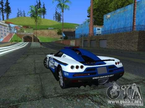 Koenigsegg CCX Police para GTA San Andreas vista posterior izquierda