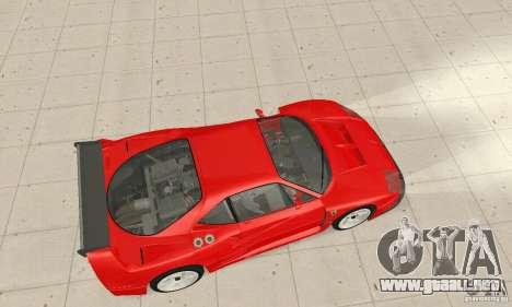 Ferrari F40 Competizione para GTA San Andreas vista posterior izquierda