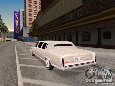 Cadillac Fleetwood Limousine 1985 para GTA San Andreas vista posterior izquierda