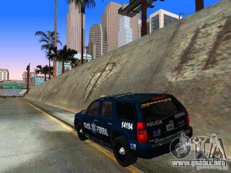 Chevrolet Tahoe 2008 Police Federal para GTA San Andreas vista posterior izquierda