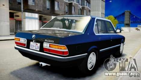 BMW 535 E28 para GTA 4 visión correcta