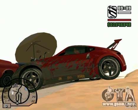 Nissan 370Z Undercover para GTA San Andreas vista posterior izquierda