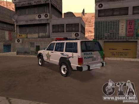 Jeep Cherokee Police 1988 para GTA San Andreas vista posterior izquierda