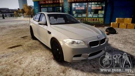BMW M5 F10 2012 para GTA 4 vista hacia atrás