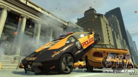 Lamborghini Reventon Police Hot Pursuit para GTA 4 Vista posterior izquierda