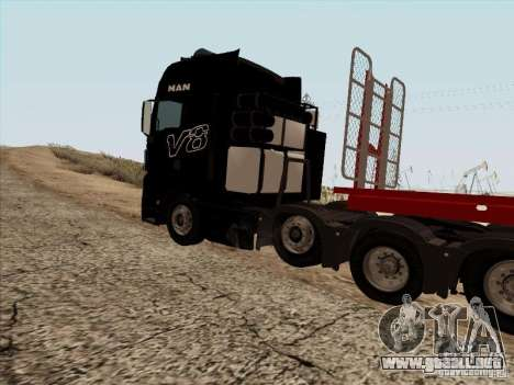 MAN TGX 8x4 para GTA San Andreas vista hacia atrás