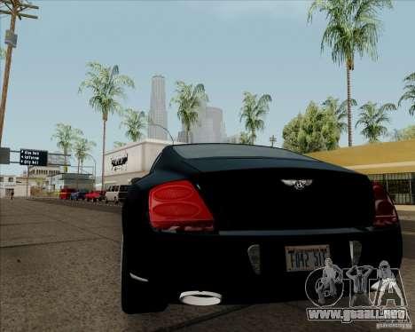 Bentley Continental GT V1.0 para GTA San Andreas vista posterior izquierda