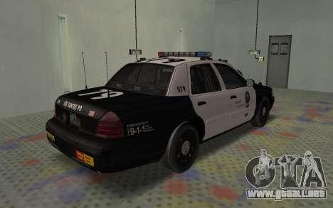 Ford Crown Victoria Police Interceptor LSPD para GTA San Andreas vista posterior izquierda
