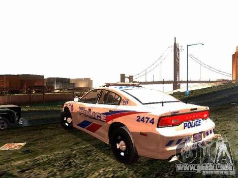 Dodge Charger 2011 Toronto Police para GTA San Andreas vista posterior izquierda