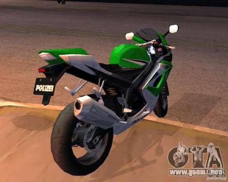 Suzuki 1000 Police para GTA San Andreas vista posterior izquierda