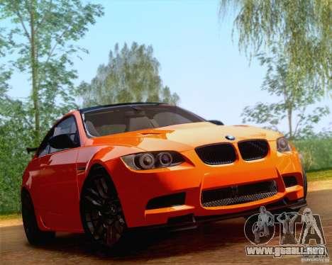 BMW M3 GT-S 2011 para GTA San Andreas vista posterior izquierda