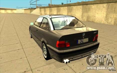BMW E36 M3 - Stock para GTA San Andreas vista posterior izquierda