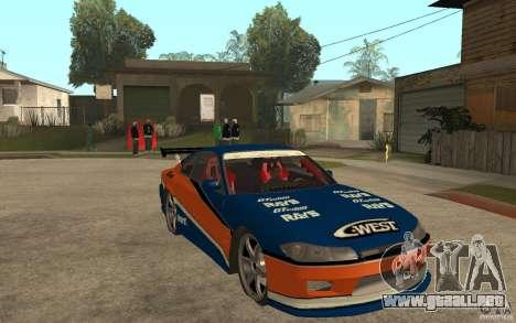 Nissan Silvia Drift para GTA San Andreas vista hacia atrás