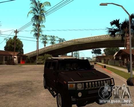 Hummer H2 SE para GTA San Andreas vista hacia atrás