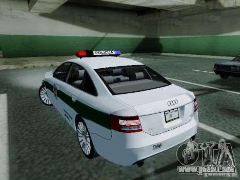 Audi A6 Police para GTA San Andreas vista posterior izquierda