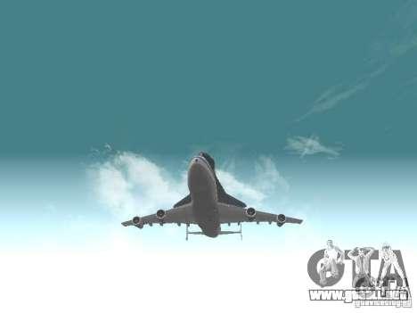 Boeing 747-100 Shuttle Carrier Aircraft para GTA San Andreas vista hacia atrás
