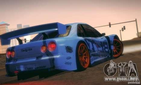 Nissan Skyline Touring R34 Blitz para GTA San Andreas vista hacia atrás