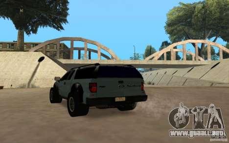 Ford Velociraptor para GTA San Andreas vista hacia atrás