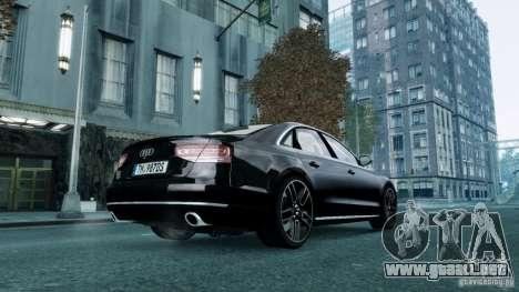 Audi A8 LED 2012 para GTA 4 Vista posterior izquierda