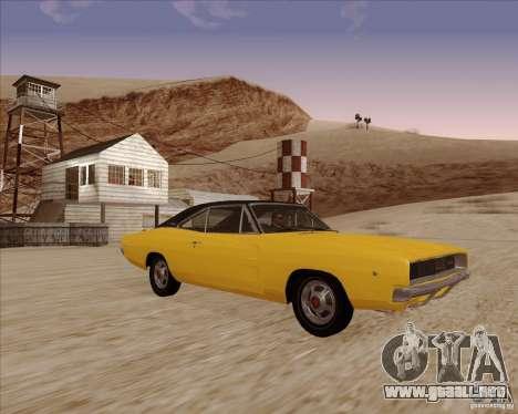 Dodge Charger RT 1968 Bullit clone para GTA San Andreas vista hacia atrás