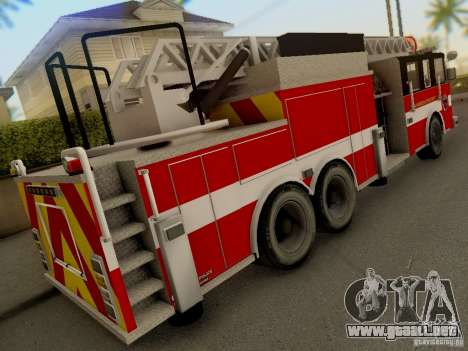 Pierce Firetruck Ladder SA Fire Department para GTA San Andreas vista hacia atrás